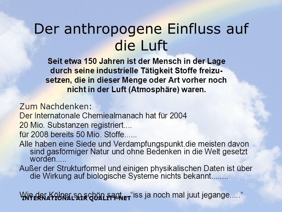 INTERNATIONAL AIR QUALITY NET Der anthropogene Einfluss auf die Luft Seit etwa 150 Jahren ist der Mensch in der Lage durch seine industrielle Tätigkei