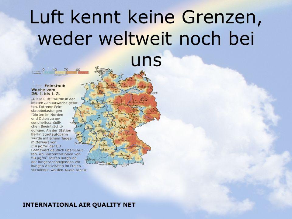 INTERNATIONAL AIR QUALITY NET Luft kennt keine Grenzen, weder weltweit noch bei uns