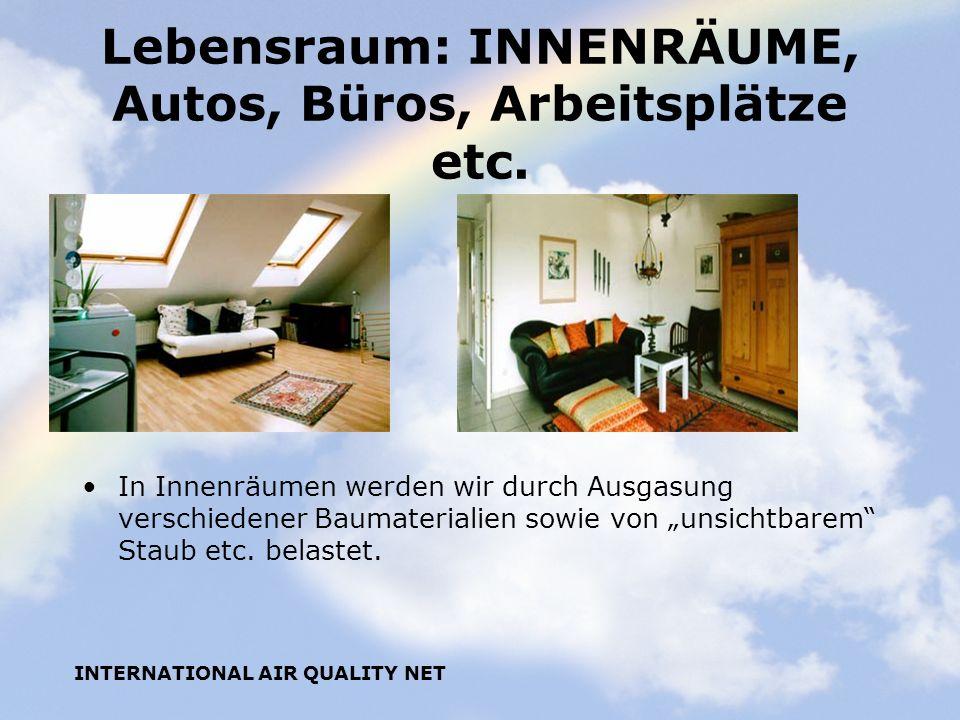 INTERNATIONAL AIR QUALITY NET Lebensraum: INNENRÄUME, Autos, Büros, Arbeitsplätze etc. In Innenräumen werden wir durch Ausgasung verschiedener Baumate