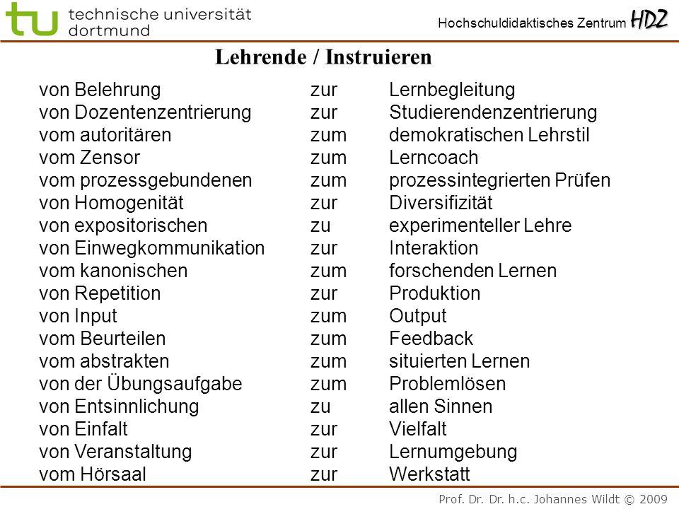 Prof. Dr. Dr. h.c. Johannes Wildt © 2009 HDZ Hochschuldidaktisches Zentrum HDZ Lehrende / Instruieren von Belehrungzur Lernbegleitung von Dozentenzent