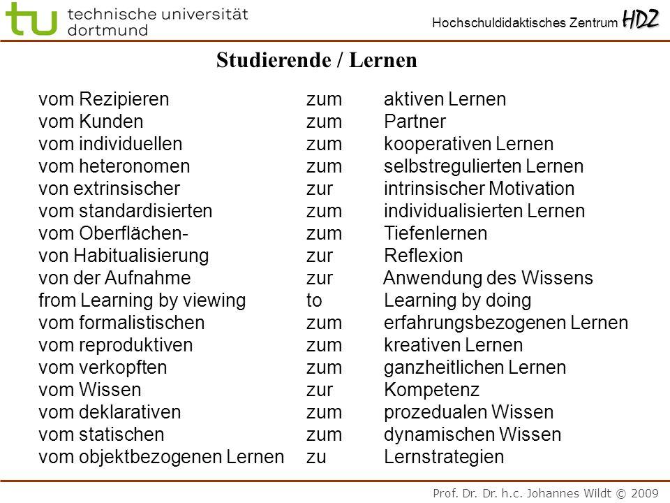 Prof. Dr. Dr. h.c. Johannes Wildt © 2009 HDZ Hochschuldidaktisches Zentrum HDZ Studierende / Lernen vom Rezipierenzum aktiven Lernen vom Kundenzum Par