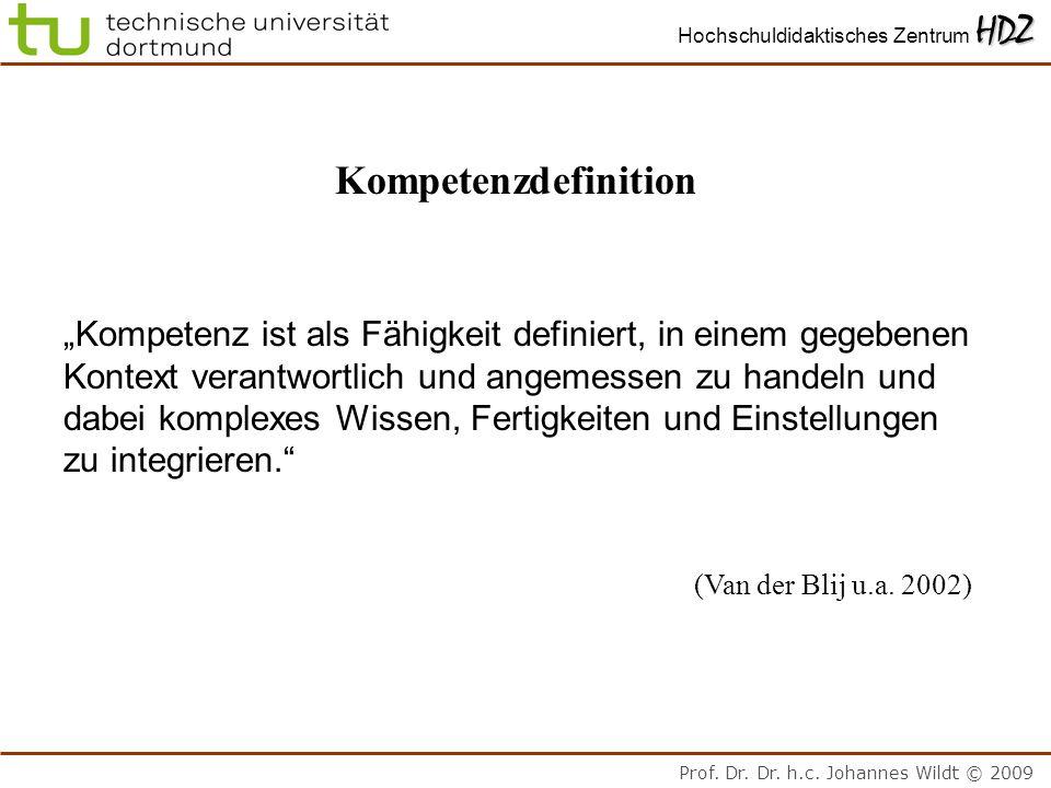 Prof. Dr. Dr. h.c. Johannes Wildt © 2009 HDZ Hochschuldidaktisches Zentrum HDZ Kompetenzdefinition Kompetenz ist als Fähigkeit definiert, in einem geg