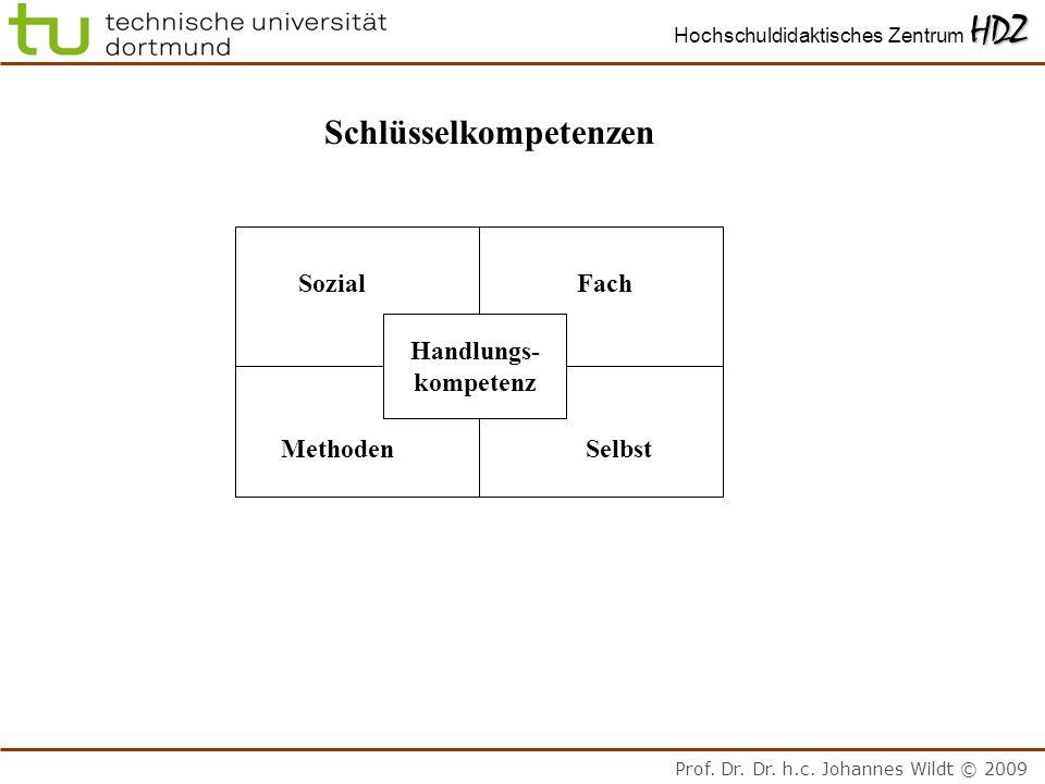 Prof. Dr. Dr. h.c. Johannes Wildt © 2009 HDZ Hochschuldidaktisches Zentrum HDZ Schlüsselkompetenzen FachSozial MethodenSelbst Handlungs- kompetenz