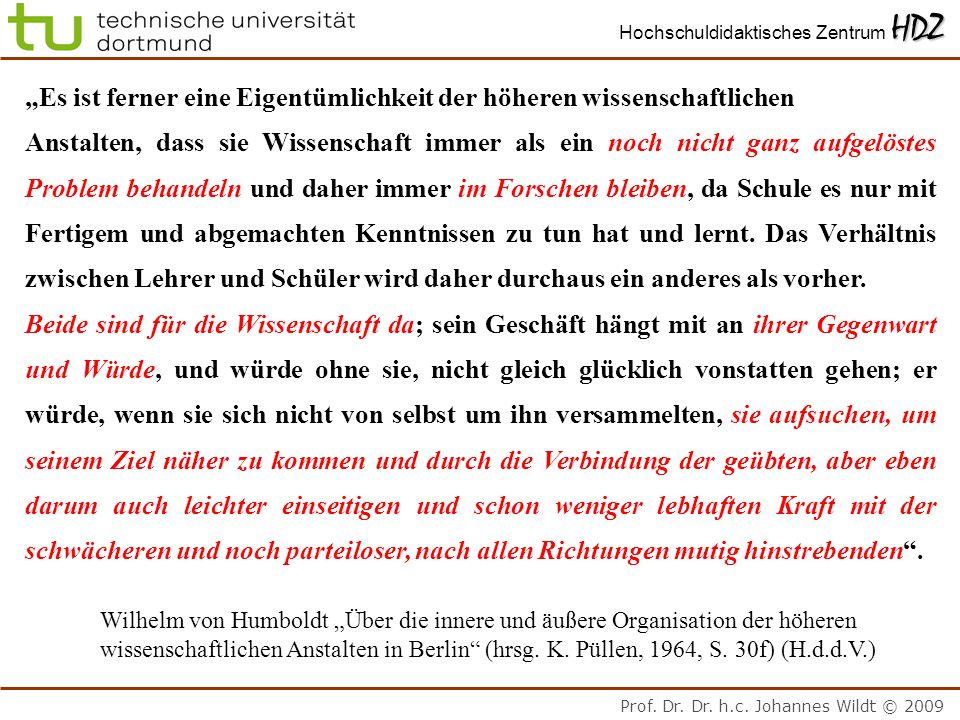 Prof. Dr. Dr. h.c. Johannes Wildt © 2009 HDZ Hochschuldidaktisches Zentrum HDZ Es ist ferner eine Eigentümlichkeit der höheren wissenschaftlichen Anst