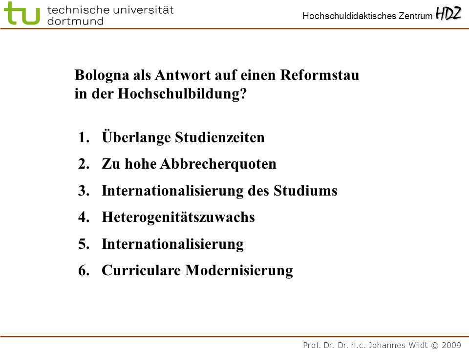 Prof. Dr. Dr. h.c. Johannes Wildt © 2009 HDZ Hochschuldidaktisches Zentrum HDZ Bologna als Antwort auf einen Reformstau in der Hochschulbildung? 1.Übe