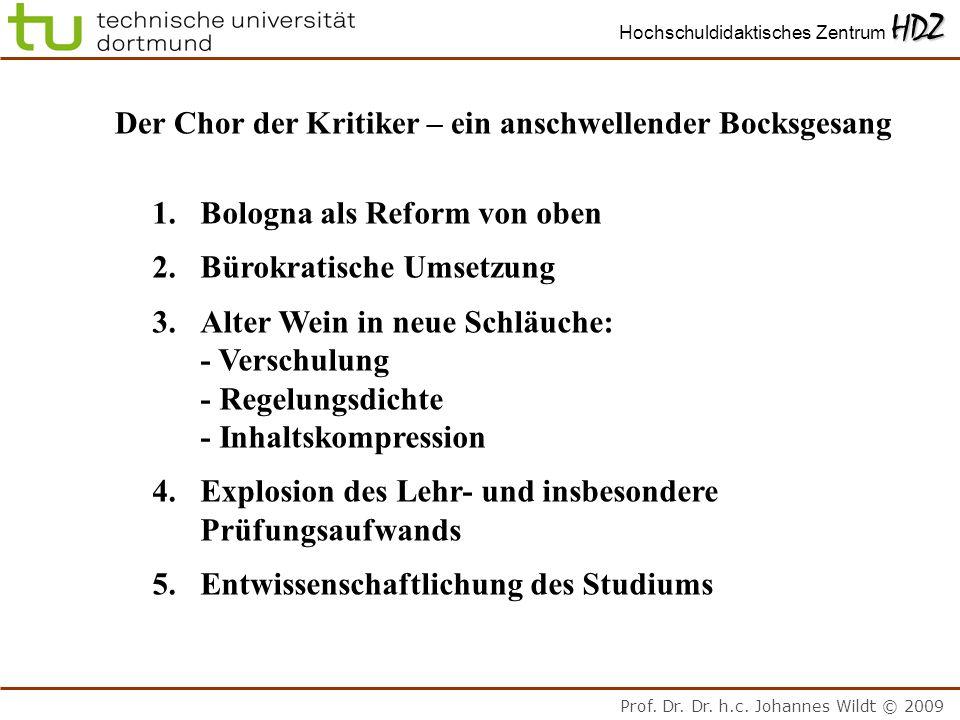 Prof. Dr. Dr. h.c. Johannes Wildt © 2009 HDZ Hochschuldidaktisches Zentrum HDZ Der Chor der Kritiker – ein anschwellender Bocksgesang 1.Bologna als Re