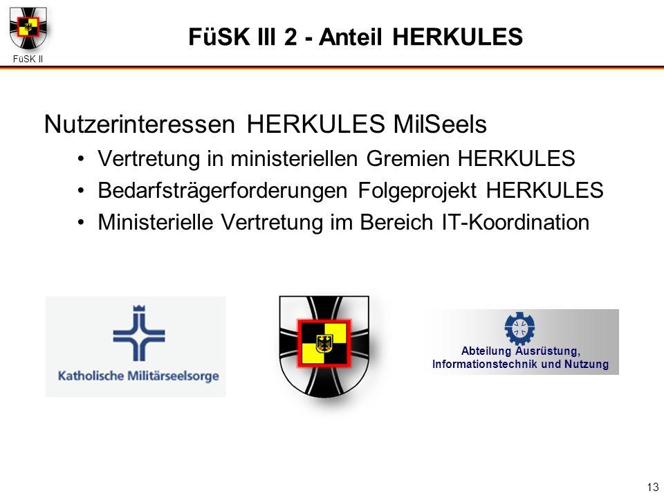 FüSK II 13 FüSK III 2 - Anteil HERKULES Nutzerinteressen HERKULES MilSeels Vertretung in ministeriellen Gremien HERKULES Bedarfsträgerforderungen Folg