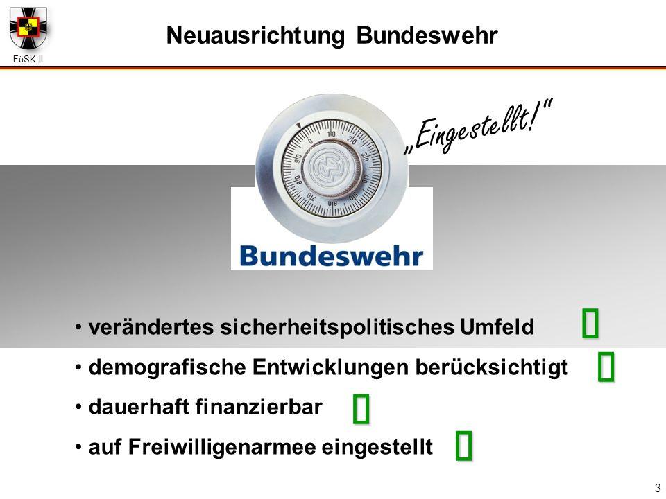 FüSK II 3 Neuausrichtung Bundeswehr verändertes sicherheitspolitisches Umfeld demografische Entwicklungen berücksichtigt dauerhaft finanzierbar auf Fr