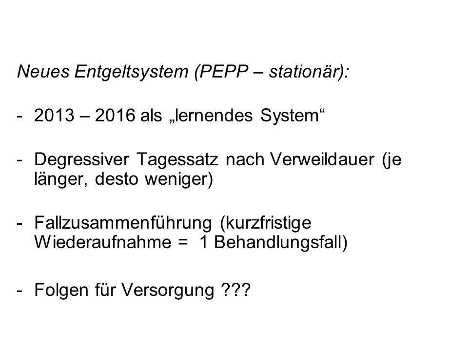 Neues Entgeltsystem (PEPP – stationär): -2013 – 2016 als lernendes System -Degressiver Tagessatz nach Verweildauer (je länger, desto weniger) -Fallzus