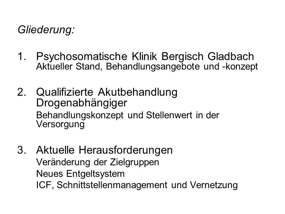Gliederung: 1.Psychosomatische Klinik Bergisch Gladbach Aktueller Stand, Behandlungsangebote und -konzept 2.Qualifizierte Akutbehandlung Drogenabhängi