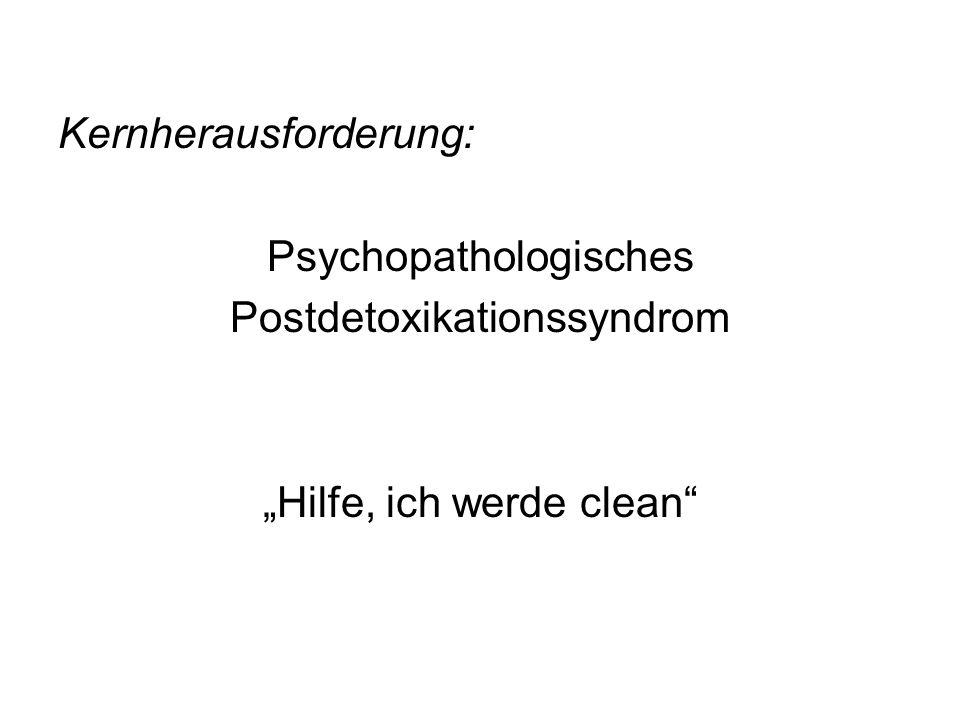 Kernherausforderung: Psychopathologisches Postdetoxikationssyndrom Hilfe, ich werde clean