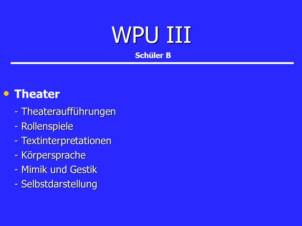 Theater - Theateraufführungen - Theateraufführungen - Rollenspiele - Textinterpretationen - Körpersprache - Mimik und Gestik - Selbstdarstellung WPU I