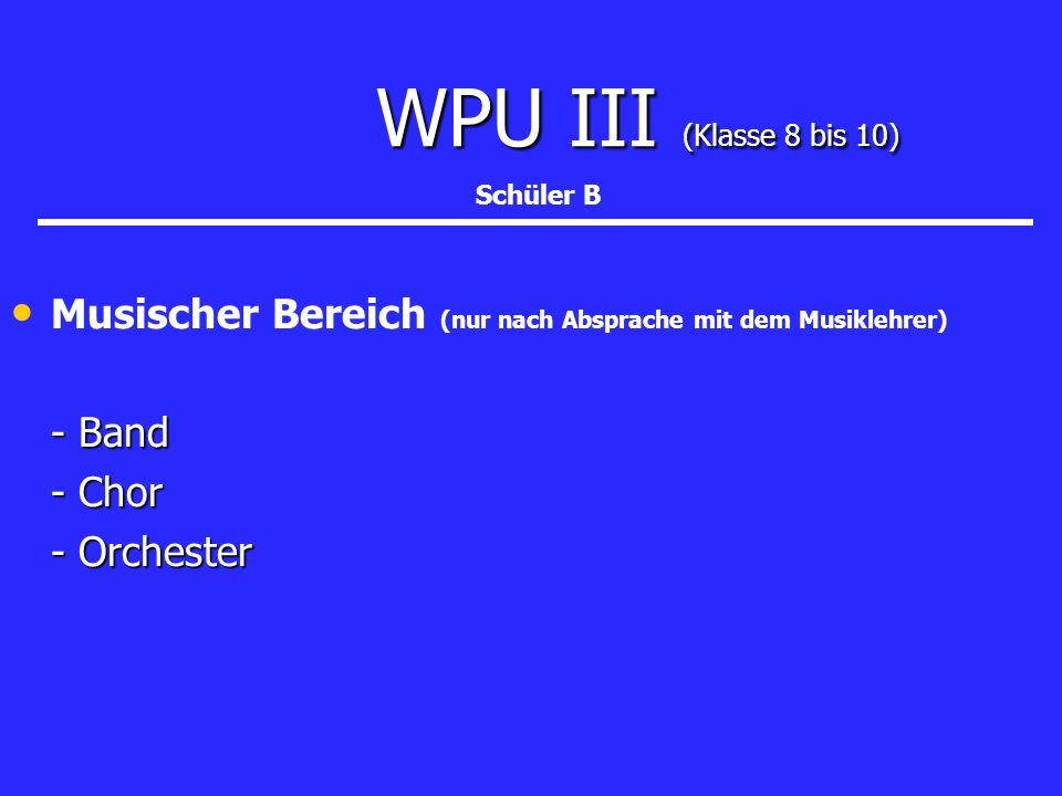 WPU III (Klasse 8 bis 10) Musischer Bereich (nur nach Absprache mit dem Musiklehrer) - Band - Chor - Orchester Schüler B