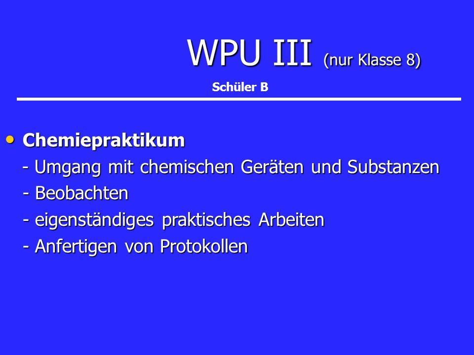 WPU III (nur Klasse 8) WPU III (nur Klasse 8) Chemiepraktikum Chemiepraktikum - Umgang mit chemischen Geräten und Substanzen - Umgang mit chemischen G