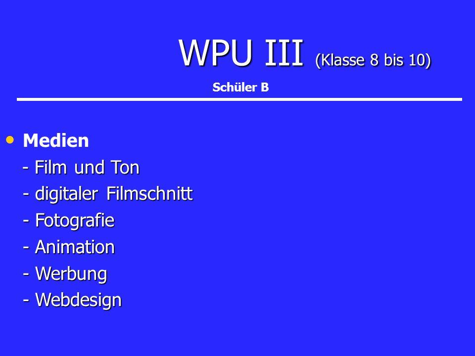 WPU III (Klasse 8 bis 10) WPU III (Klasse 8 bis 10) Medien - Film und Ton - Film und Ton - digitaler Filmschnitt - Fotografie - Animation - Werbung -