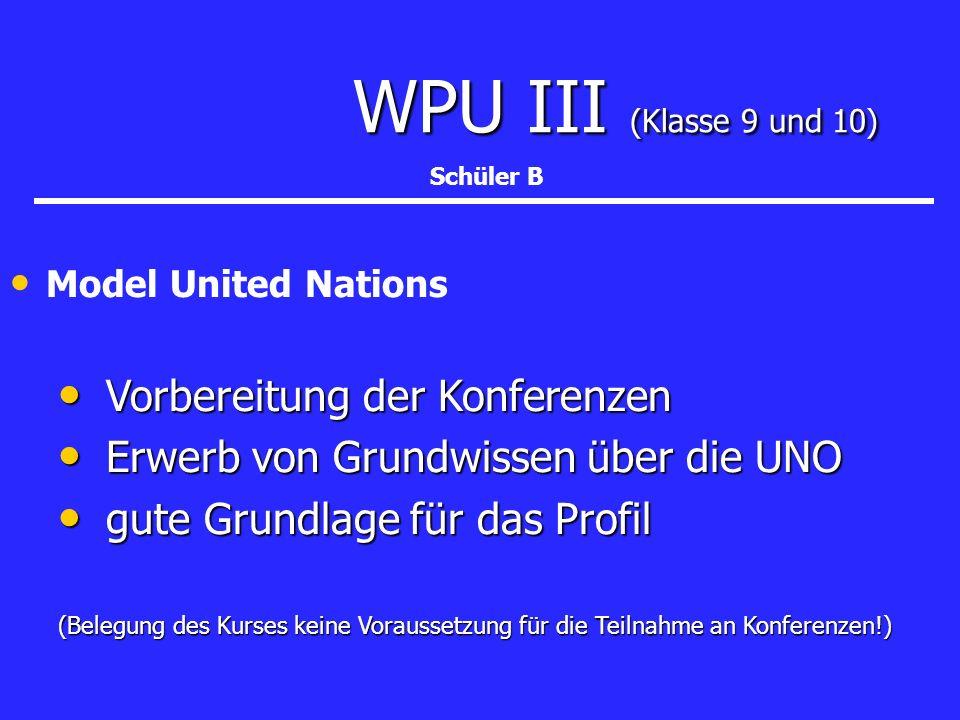 WPU III (Klasse 9 und 10) WPU III (Klasse 9 und 10) Model United Nations Vorbereitung der Konferenzen Vorbereitung der Konferenzen Erwerb von Grundwis