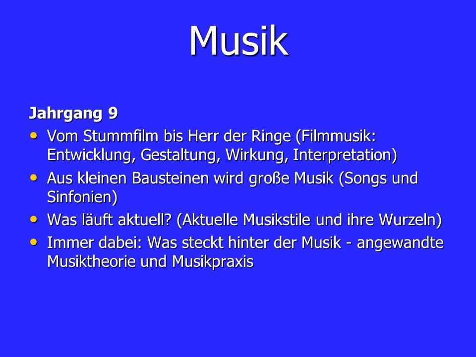 Musik Jahrgang 9 Vom Stummfilm bis Herr der Ringe (Filmmusik: Entwicklung, Gestaltung, Wirkung, Interpretation) Vom Stummfilm bis Herr der Ringe (Film