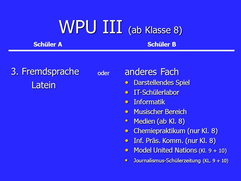 WPU III (ab Klasse 8) 3. Fremdsprache Latein Latein anderes Fach Darstellendes Spiel Darstellendes Spiel IT-Schülerlabor IT-Schülerlabor Informatik In