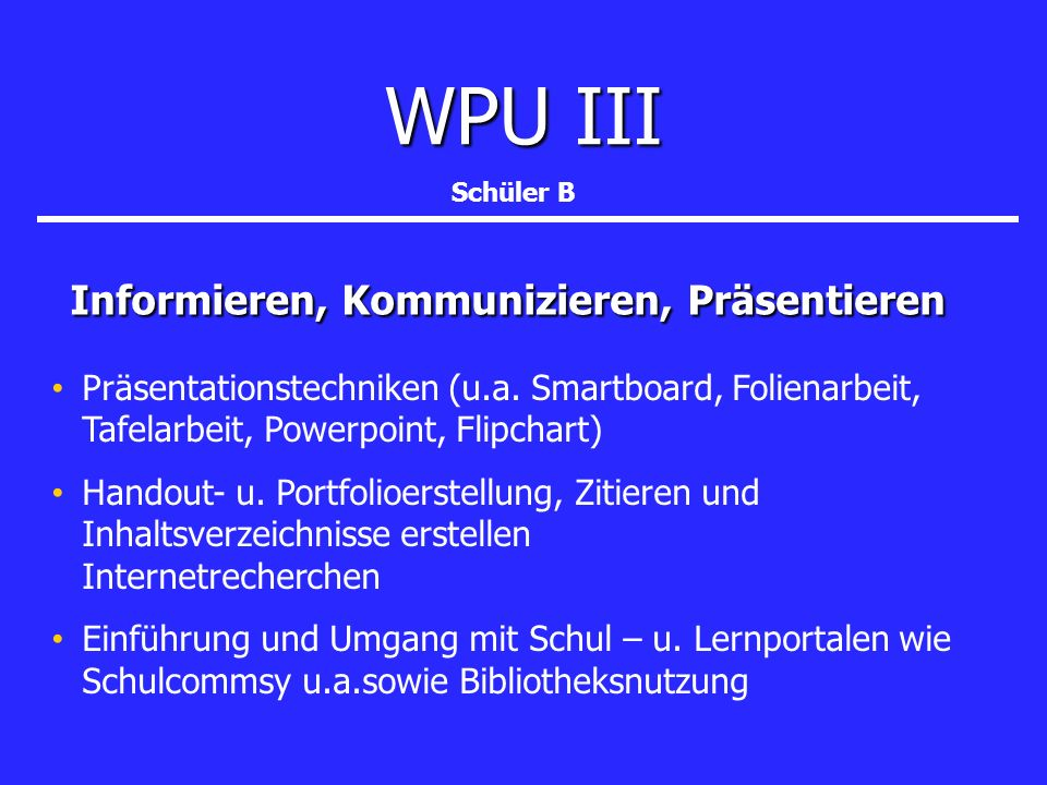 Übersicht Wahlpflichtunterricht Alle Schüler müssen den Wahlpflichtunterricht in allen Bereichen mit der Wahl eines Faches abdecken Alle Schüler müssen den Wahlpflichtunterricht in allen Bereichen mit der Wahl eines Faches abdecken WPU IMusik oder Bildende Kunst(erst ab Klasse 9) WPU IMusik oder Bildende Kunst(erst ab Klasse 9) WPU IIReligion oder Philosophie (ab Klasse 8) WPU IIReligion oder Philosophie (ab Klasse 8) WPU IIIS chüler A oder Schüler B (ab Klasse 8) WPU IIIS chüler A oder Schüler B (ab Klasse 8) TheaterIT-SchülerlaborInformatik Musischer Bereich (Band, Chor, Orchester) Medien ab Klasse 8 Chemiepraktikum nur Klasse 8 Informieren, Kommunizieren Präsentieren nur Klasse 8 Model United Nations nur Klasse 9 und 10 Schülerzeitung/Journalismus ab Klasse 9 Lateindreistündig 3.