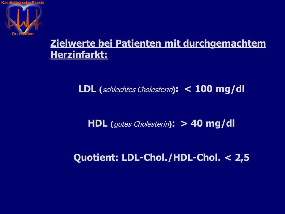 Fettstoffwechelstörungen: (Insbesondere Veränderungen der Cholesterinwerte) LDL-Cholesterin: schlechtes Cholesterin Fördert die Arteriosklerose und da