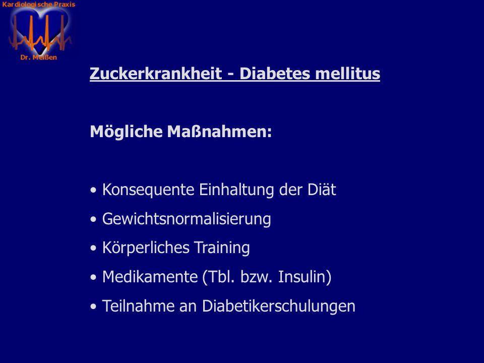 Bluthochdruck - Arterielle Hypertonie Zielwerte (empfohlen von der deutschen Hochdruckliga): Blutdruck < 140 / 90 mmHg Maßnahmen zur Erreichung dieser