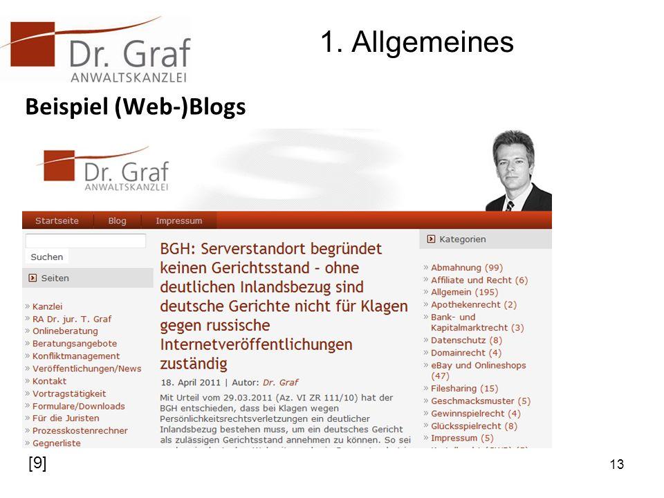 1. Allgemeines Beispiel (Web-)Blogs 13 [9]