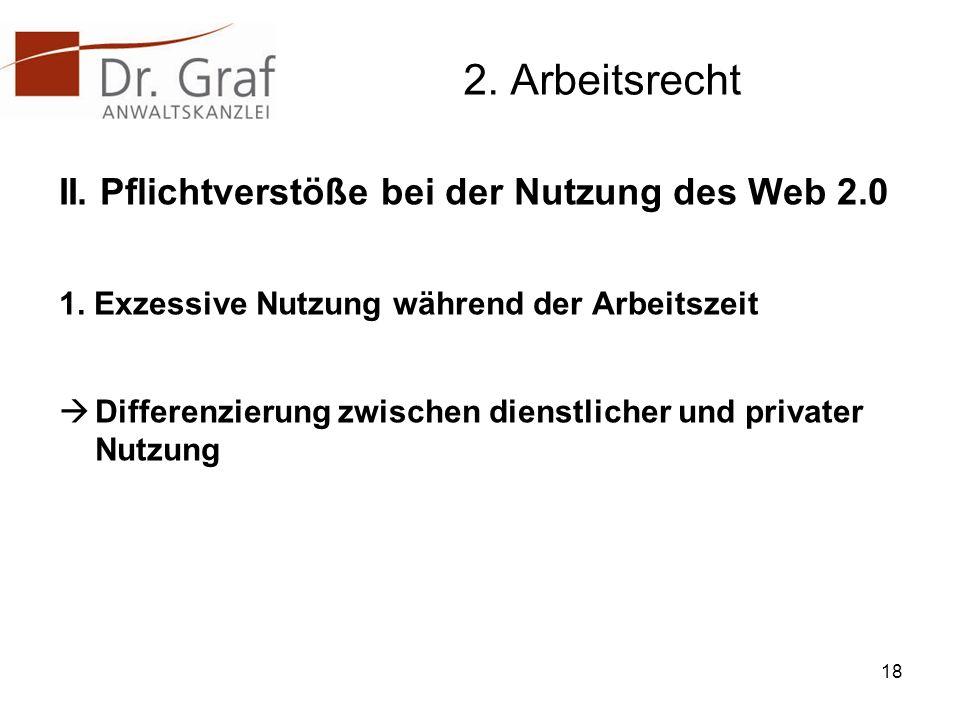 2.Arbeitsrecht II. Pflichtverstöße bei der Nutzung des Web 2.0 1.
