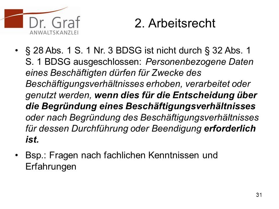 2.Arbeitsrecht § 28 Abs. 1 S. 1 Nr. 3 BDSG ist nicht durch § 32 Abs.