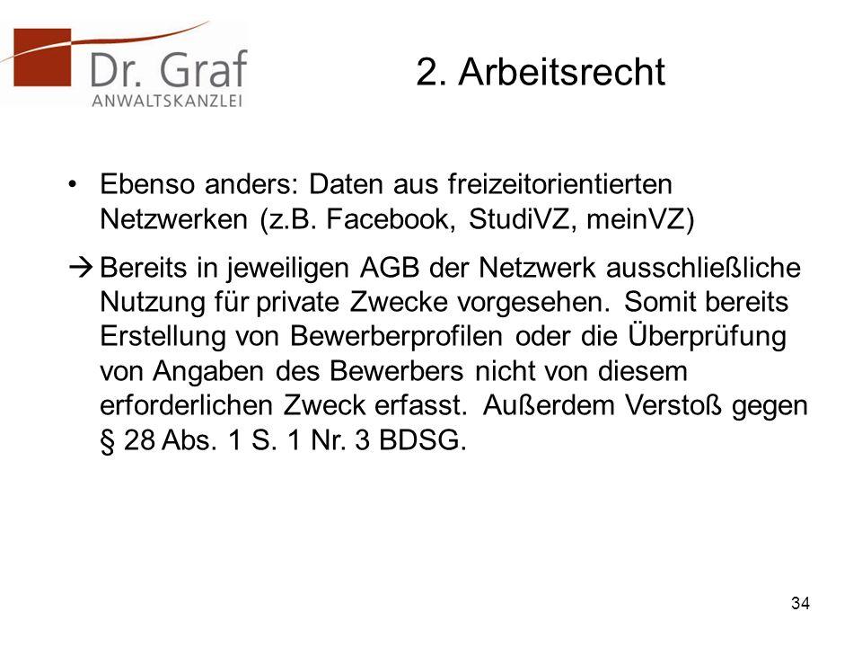 2.Arbeitsrecht Ebenso anders: Daten aus freizeitorientierten Netzwerken (z.B.