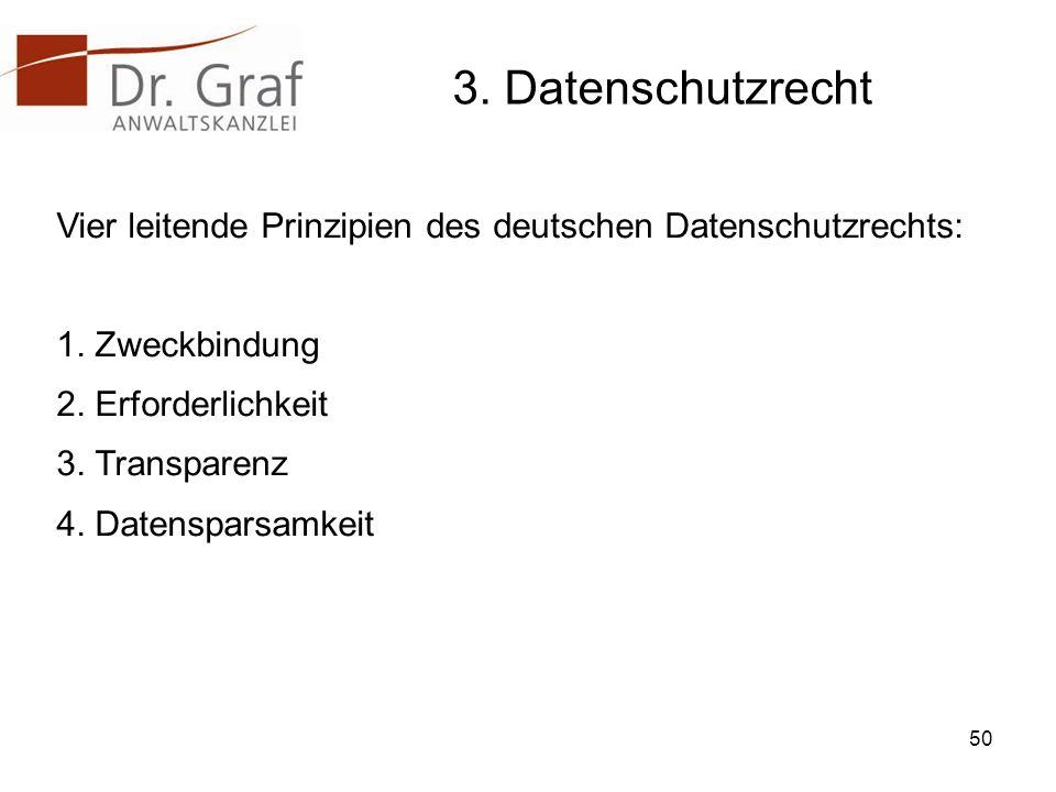 3.Datenschutzrecht Vier leitende Prinzipien des deutschen Datenschutzrechts: 1.