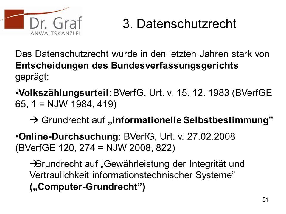 3. Datenschutzrecht Das Datenschutzrecht wurde in den letzten Jahren stark von Entscheidungen des Bundesverfassungsgerichts geprägt: Volkszählungsurte