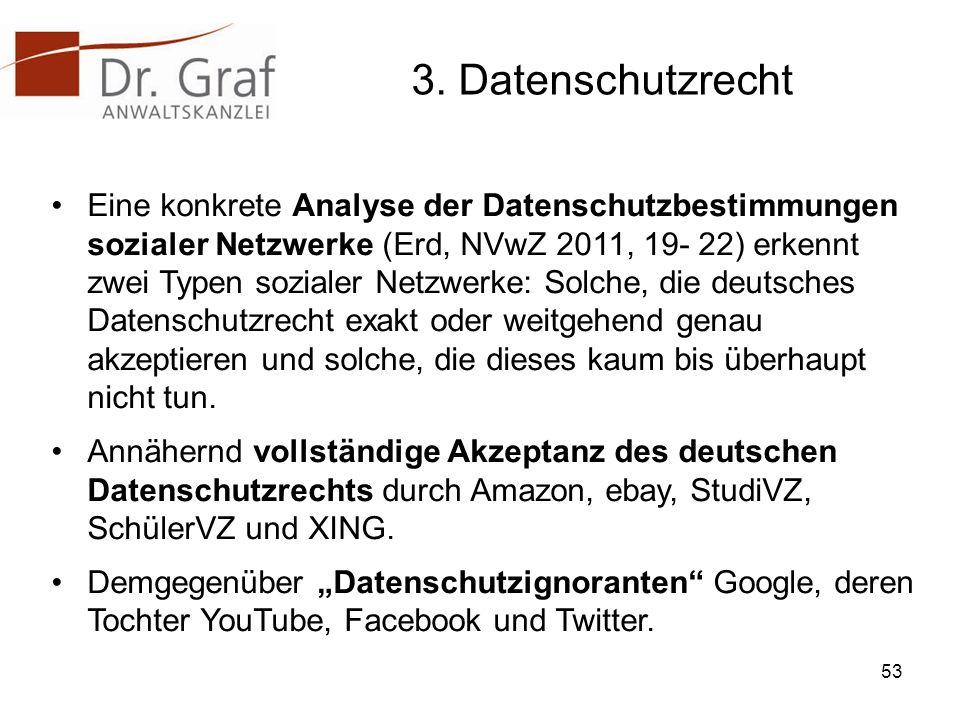 3. Datenschutzrecht Eine konkrete Analyse der Datenschutzbestimmungen sozialer Netzwerke (Erd, NVwZ 2011, 19- 22) erkennt zwei Typen sozialer Netzwerk