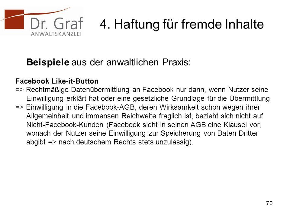 4. Haftung für fremde Inhalte Beispiele aus der anwaltlichen Praxis: Facebook Like-it-Button => Rechtmäßige Datenübermittlung an Facebook nur dann, we