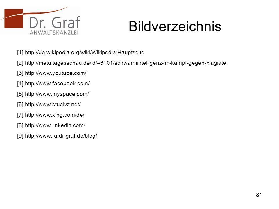 Bildverzeichnis [1] http://de.wikipedia.org/wiki/Wikipedia:Hauptseite [2] http://meta.tagesschau.de/id/46101/schwarmintelligenz-im-kampf-gegen-plagiate [3] http://www.youtube.com/ [4] http://www.facebook.com/ [5] http://www.myspace.com/ [6] http://www.studivz.net/ [7] http://www.xing.com/de/ [8] http://www.linkedin.com/ [9] http://www.ra-dr-graf.de/blog/ 81