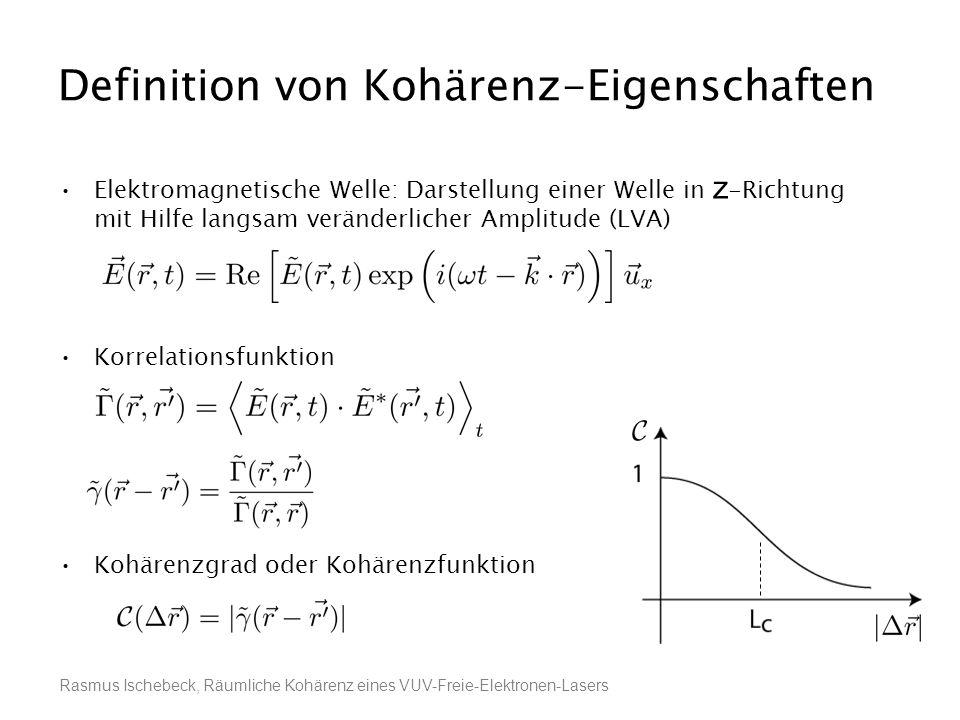 Rasmus Ischebeck, Räumliche Kohärenz eines VUV-Freie-Elektronen-Lasers Definition von Kohärenz-Eigenschaften Elektromagnetische Welle: Darstellung ein