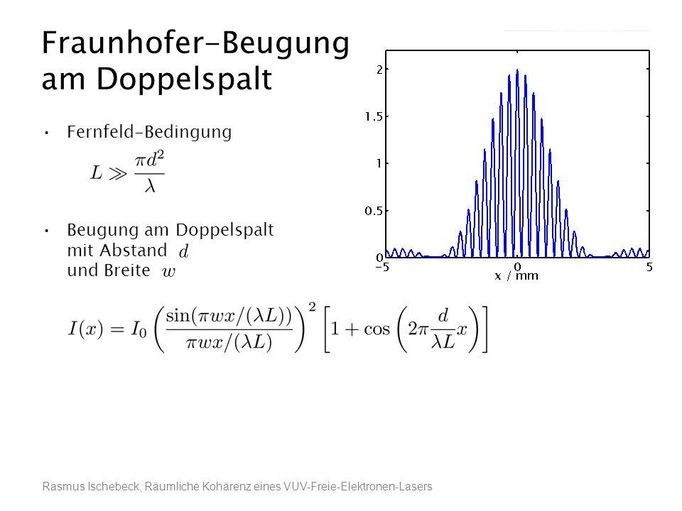 Rasmus Ischebeck, Räumliche Kohärenz eines VUV-Freie-Elektronen-Lasers Fernfeld-Bedingung Beugung am Doppelspalt mit Abstand und Breite Joseph von Fra