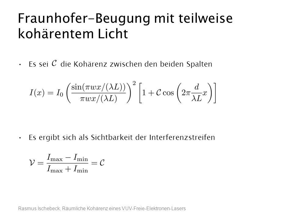 Rasmus Ischebeck, Räumliche Kohärenz eines VUV-Freie-Elektronen-Lasers Fraunhofer-Beugung mit teilweise kohärentem Licht Es sei die Kohärenz zwischen