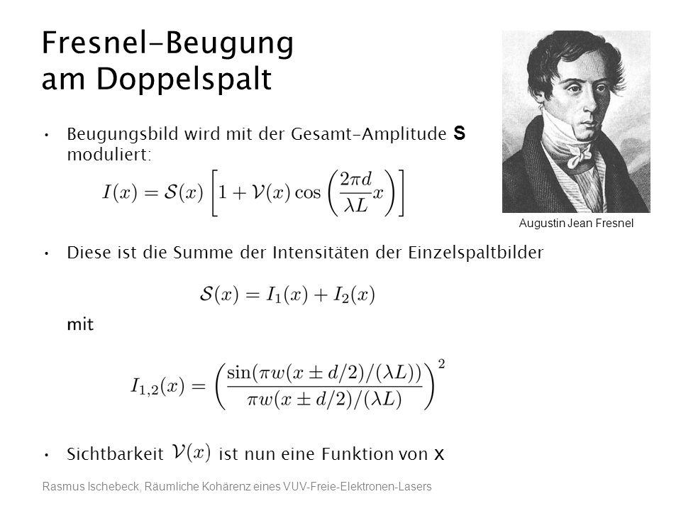 Rasmus Ischebeck, Räumliche Kohärenz eines VUV-Freie-Elektronen-Lasers Fresnel-Beugung am Doppelspalt Beugungsbild wird mit der Gesamt-Amplitude S mod