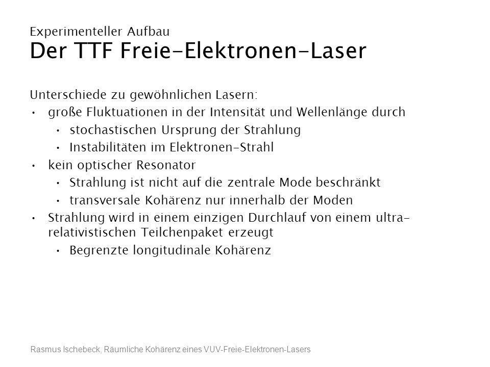 Rasmus Ischebeck, Räumliche Kohärenz eines VUV-Freie-Elektronen-Lasers Experimenteller Aufbau Der TTF Freie-Elektronen-Laser Unterschiede zu gewöhnlic