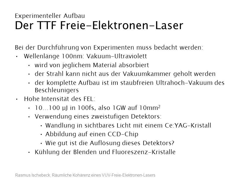 Rasmus Ischebeck, Räumliche Kohärenz eines VUV-Freie-Elektronen-Lasers Experimenteller Aufbau Der TTF Freie-Elektronen-Laser Bei der Durchführung von