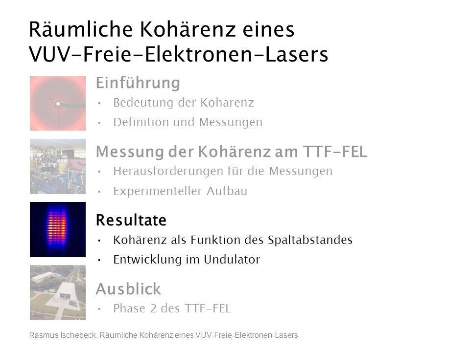 Rasmus Ischebeck, Räumliche Kohärenz eines VUV-Freie-Elektronen-Lasers Räumliche Kohärenz eines VUV-Freie-Elektronen-Lasers Einführung Bedeutung der K