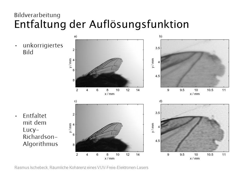 Rasmus Ischebeck, Räumliche Kohärenz eines VUV-Freie-Elektronen-Lasers Bildverarbeitung Entfaltung der Auflösungsfunktion unkorrigiertes Bild Entfalte