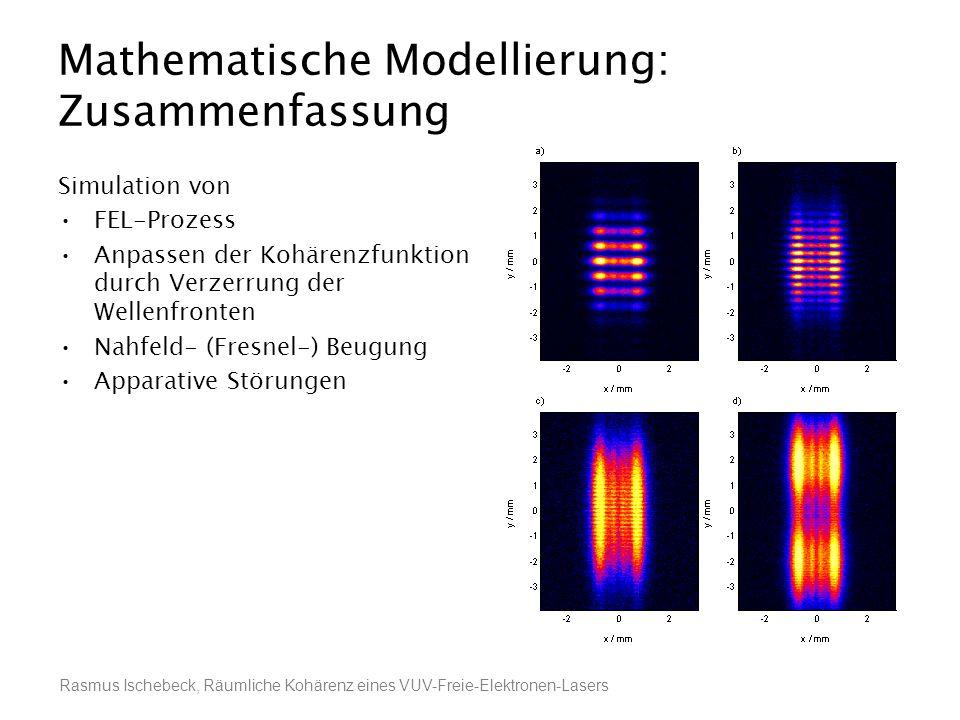 Rasmus Ischebeck, Räumliche Kohärenz eines VUV-Freie-Elektronen-Lasers Mathematische Modellierung: Zusammenfassung Simulation von FEL-Prozess Anpassen