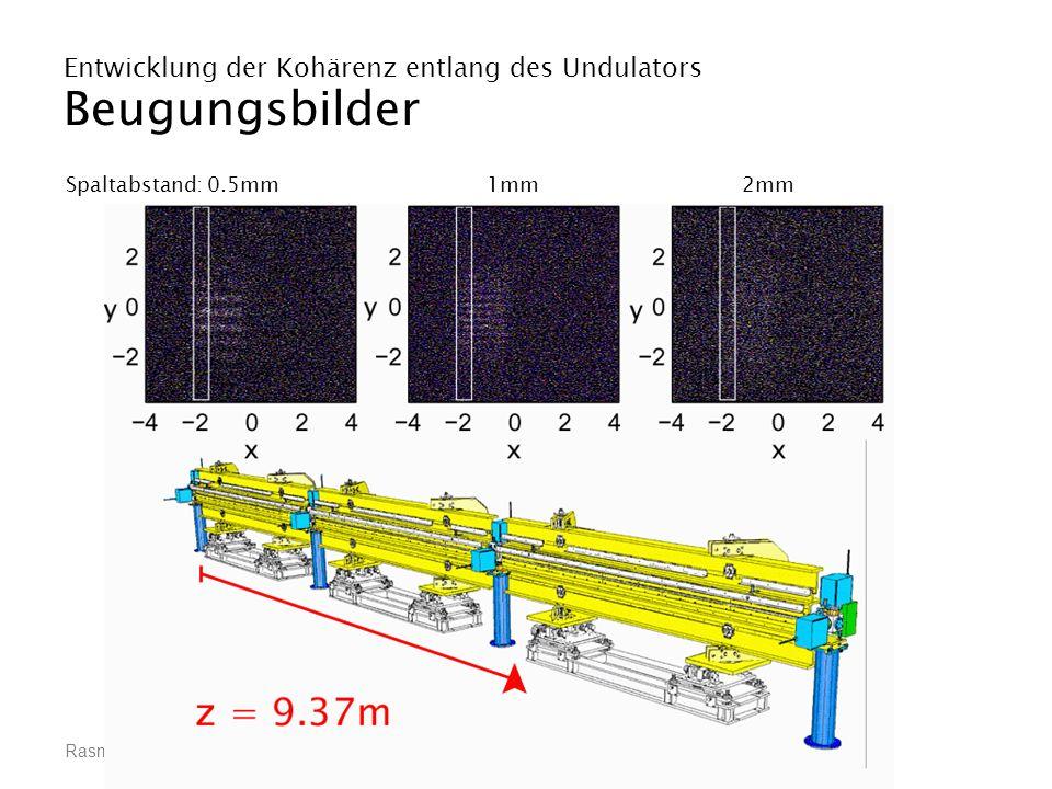 Rasmus Ischebeck, Räumliche Kohärenz eines VUV-Freie-Elektronen-Lasers Entwicklung der Kohärenz entlang des Undulators Beugungsbilder Spaltabstand: 0.