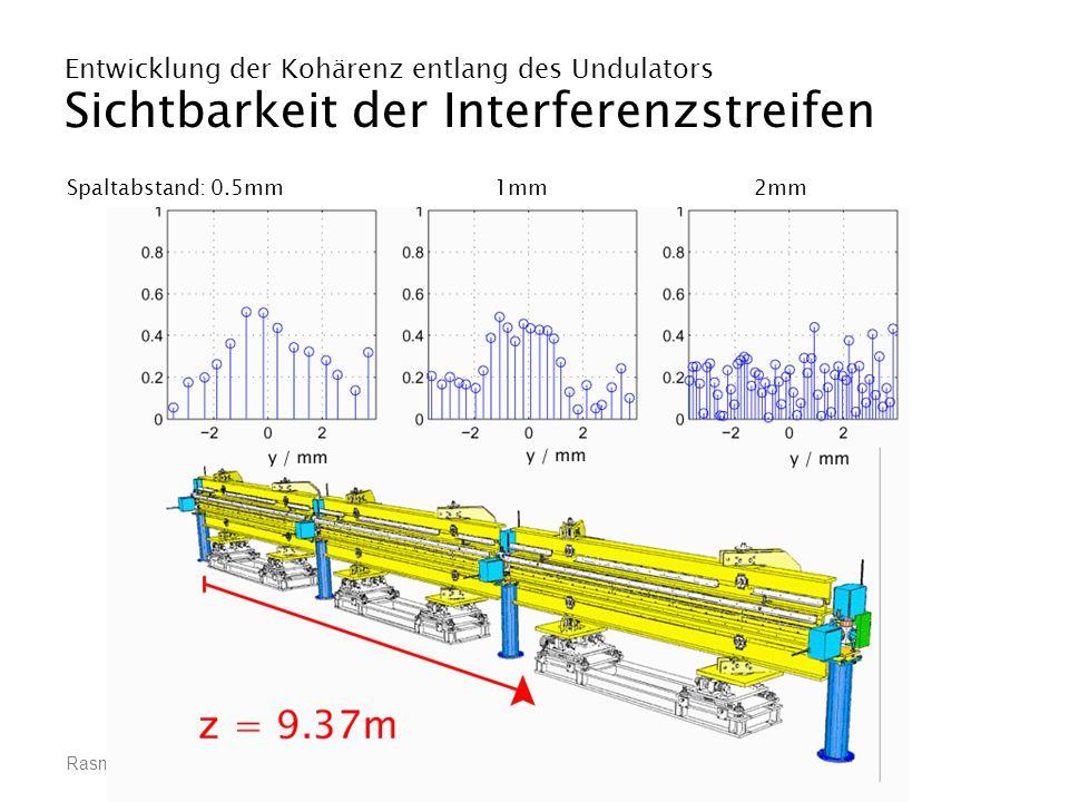 Rasmus Ischebeck, Räumliche Kohärenz eines VUV-Freie-Elektronen-Lasers Entwicklung der Kohärenz entlang des Undulators Sichtbarkeit der Interferenzstr