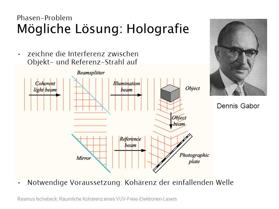Rasmus Ischebeck, Räumliche Kohärenz eines VUV-Freie-Elektronen-Lasers Phasen-Problem Mögliche Lösung: Holografie zeichne die Interferenz zwischen Obj
