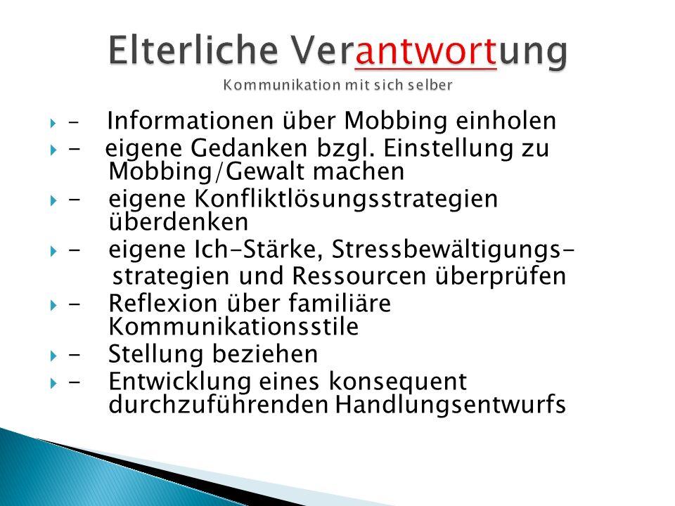 - Informationen über Mobbing einholen - eigene Gedanken bzgl. Einstellung zu Mobbing/Gewalt machen - eigene Konfliktlösungsstrategien überdenken -eige