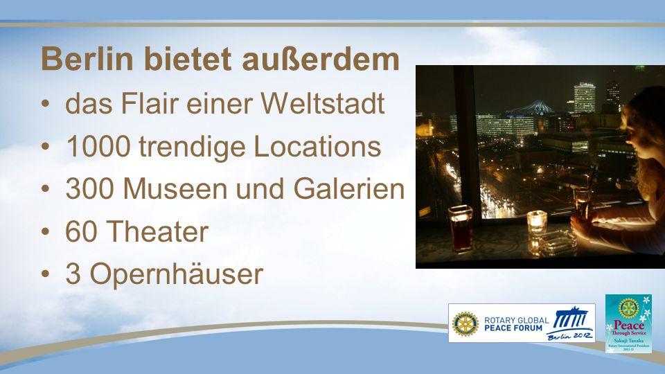 Berlin bietet außerdem das Flair einer Weltstadt 1000 trendige Locations 300 Museen und Galerien 60 Theater 3 Opernhäuser