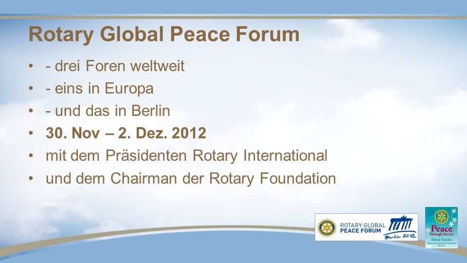 Wilf Wilkinson The Rotary Foundation Chairman 2012 - 13