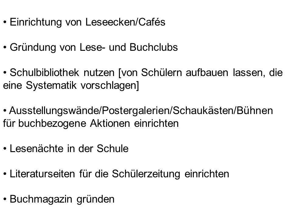 Einrichtung von Leseecken/Cafés Gründung von Lese- und Buchclubs Schulbibliothek nutzen [von Schülern aufbauen lassen, die eine Systematik vorschlagen